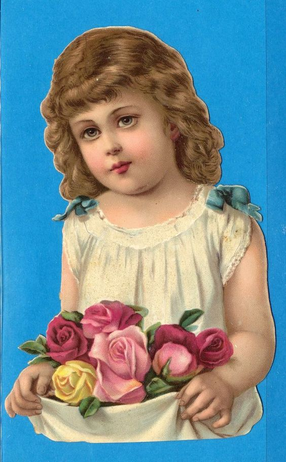 VICTORIAN DIE CUT SCRAPS: ANGEL FACE LITTLE GIRL WITH ROSES, MICA  #Scraps
