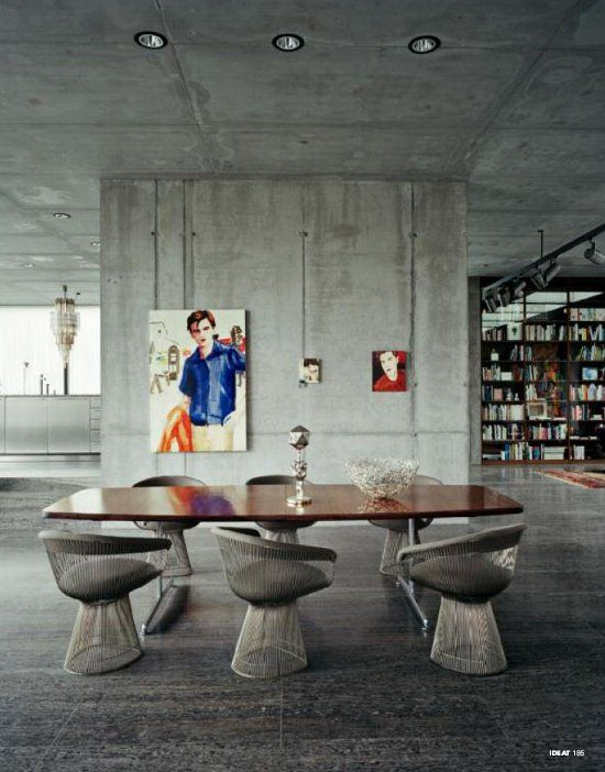 concrete walls but warm atmosphere love the warren platner chairs boros 39 loft in berlin. Black Bedroom Furniture Sets. Home Design Ideas