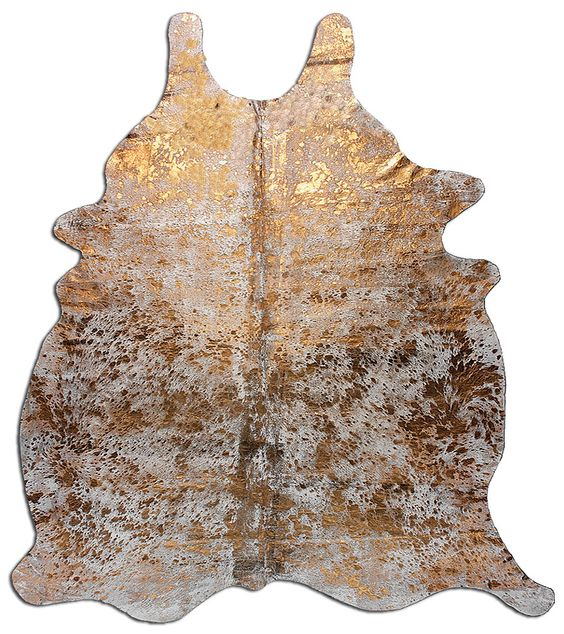Metallic cowhide rug in gold your source for Cowhide rug houston