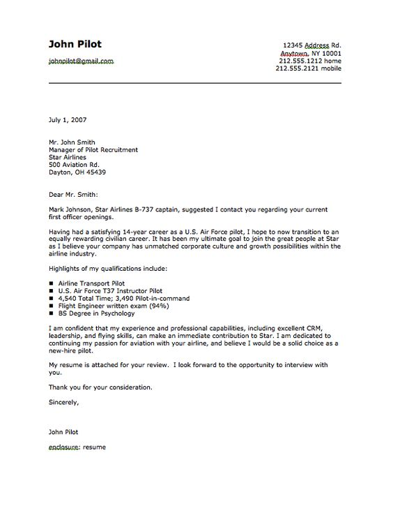 Military Pilot Cover Letter Sample - http\/\/resumesdesign - paralegal cover letter examples