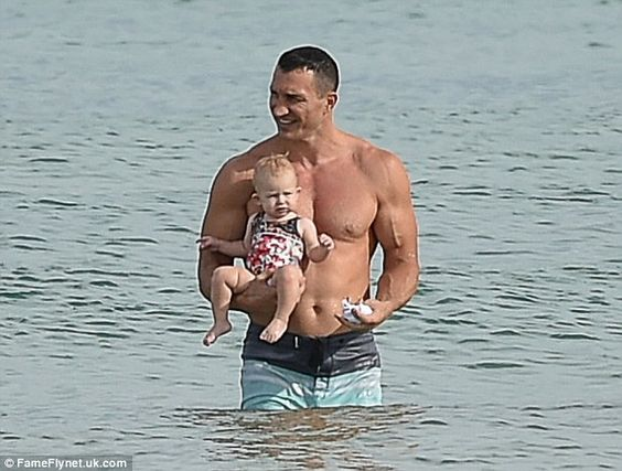 Left in charge: The 39-year-old heavyweight champion was once again on daddy duty while fiancee Hayden Panettiere was busy filming her hit show, Nashville