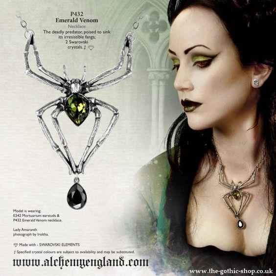 Emerald Venom Spider Necklace by Alchemy Gothic