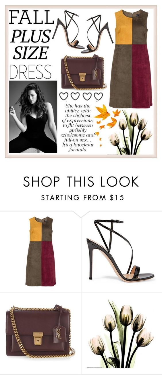 """Plus Size Dress"" by poorvashikalra ❤ liked on Polyvore featuring Manon Baptiste, Gianvito Rossi, Yves Saint Laurent and Alasdair"