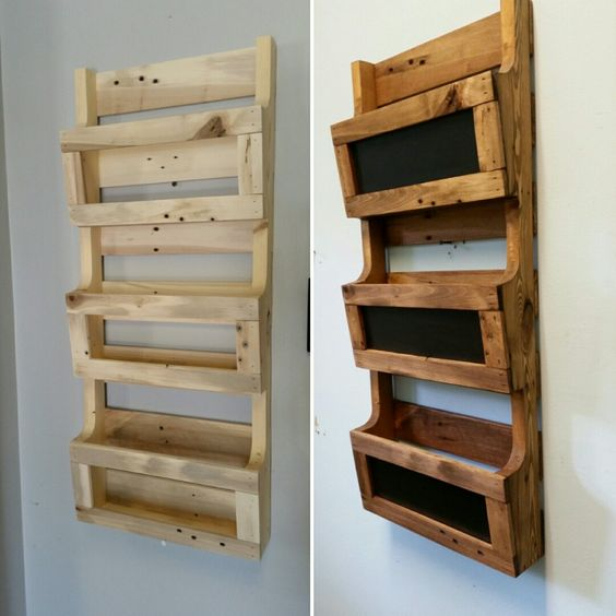 Reclaimed Pallet Wood 3 Pocket Vertical Wall Organizer with ...
