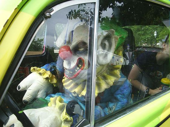 A very, very scary and creepy clown in a car at Six Flags, St. Louis.     Check this out!