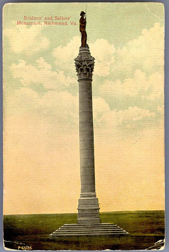 https://flic.kr/p/qH4gLi | Soldiers' and Sailors' Monument, Richmond, Va. |  Description: This imposing monument, situated in Libby Hill Park, is one of the landmarks of the City.  It was unveiled May 30th, 1894, during a great reunion of Confederate Veterans.  The column is a counterpart, on a reduced scale, of the famous pillar at Alexandria, Egypt, named after Pompey; and the colossal bronze figure surmounting it is that of a typical Confederate soldier; said to be one of the largest…