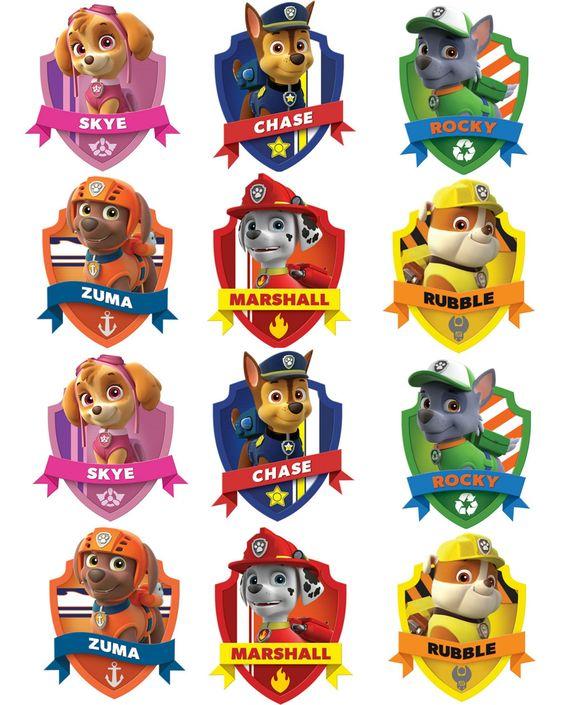 paw patrol badges:
