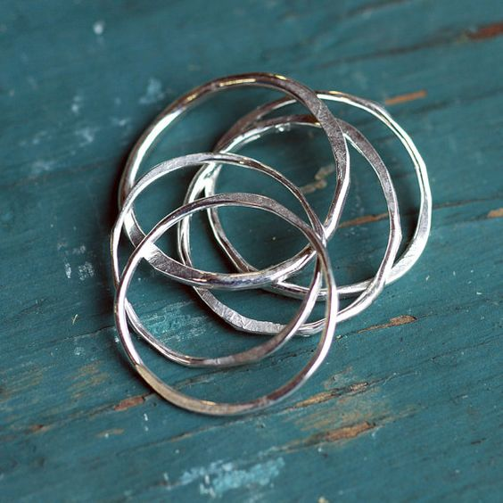 Silver Stacking Rings  Recycled EcoFriendly by thebeadgirl on Etsy, $76.00