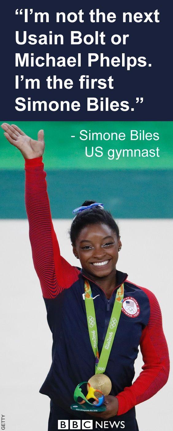 Simone Biles, Gold medalist, US Gymnastics team. 2016 Olympics in Rio. August 11, 2016.