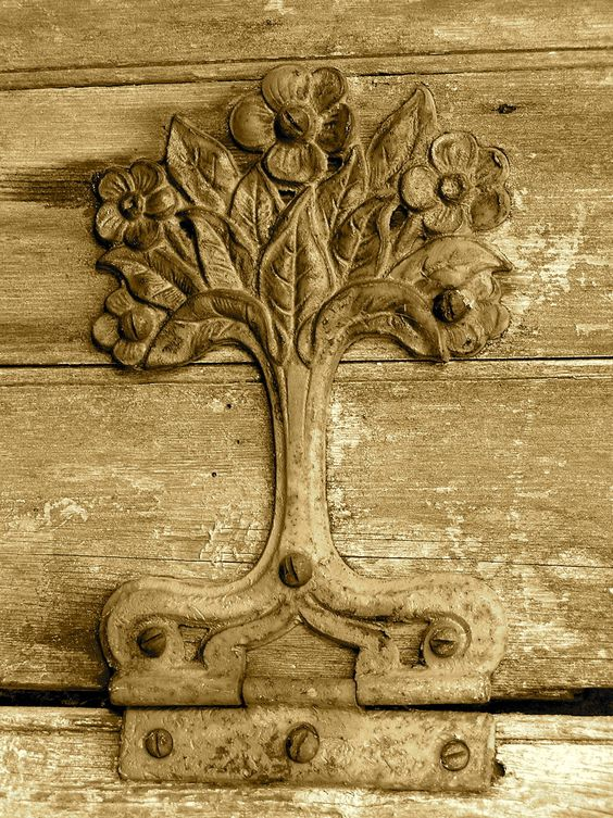 old hinge on an old garden gate.