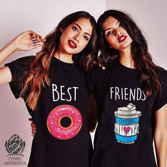 Best Friends Shirts Besties Bff Food Lovers Food Shirts Coffee And Donut T Shirts Friends T Shirt Gift Christmas Gift Best Friend T Shirts Best Friend Outfits Bff Shirts