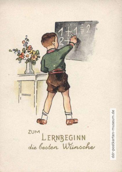 Postkarte zum Lernbeginn von 1953 - VEB Postkarten-Verlag Berlin