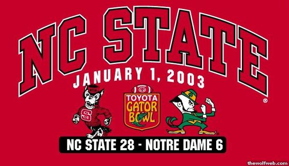 2003 Gator Bowl - I remember ND fans brushing the Wolfpack off and not giving us any chance in this game. We see how that played out.