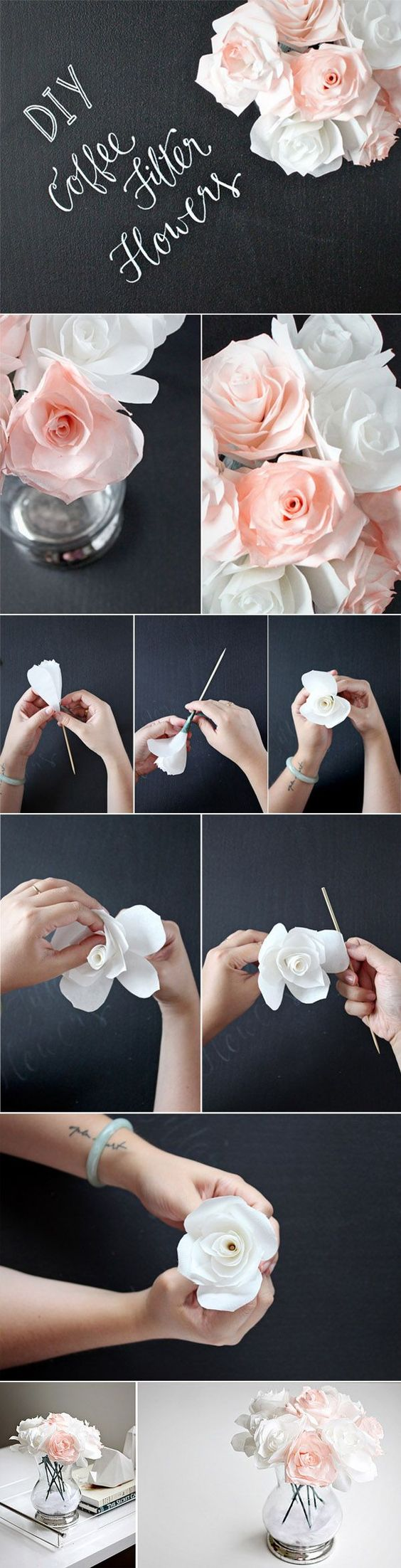 diy wedding centerpieces ideas with coffee filter flowers