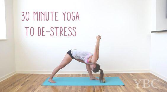 Pin now, practice yoga to de-stress later! Wearing: lululemon shorts, chaser tank (similar). Using jade travel yoga mat (Review here)