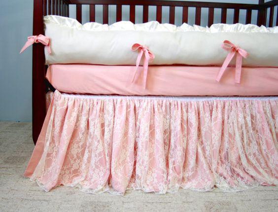 Peaches and Cream Lace Baby Crib Bedding - Ruffled Lace Crib Skirt - Cotton Crib Sheet