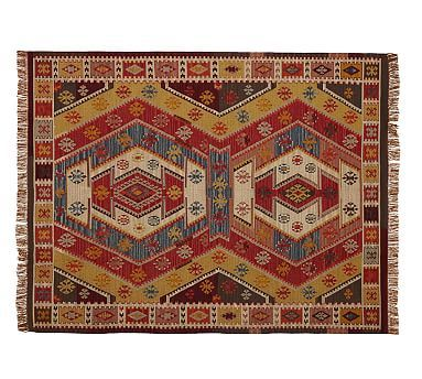 Our Inspiration Piece   Pottery Barn Gianna Recycled Yarn Kilim Indoor/Outdoor  Rug