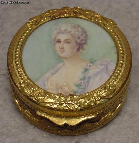 Antique Gilt Metal Jewelry Box Signed Portrait Top | eBay