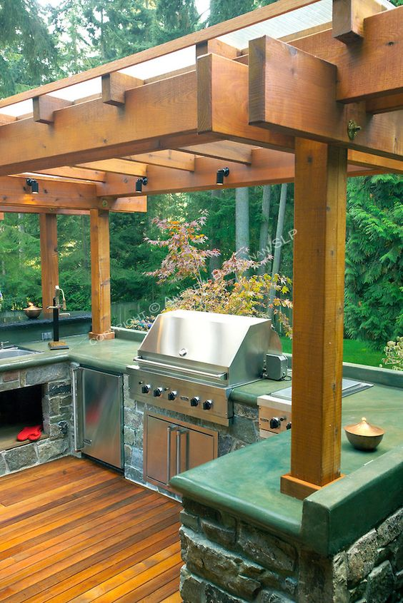 A 1700 square foot 2 level deck outdoor kitchen and for Deck kitchen ideas