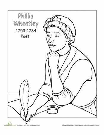 Phillis wheatley coloring page coloring coloring pages for Mary mcleod bethune free coloring pages