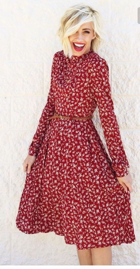 Basma Elbise Modelleri Bordo Midi Uzun Kollu Klos Etekli Desenli Cicekli Elbiseler Elbiseler Elbise Modelleri