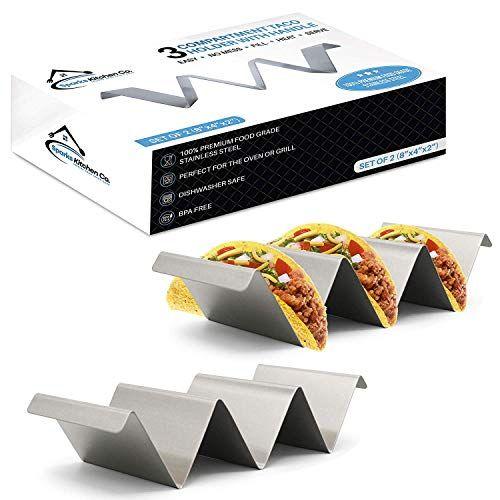 Taco Holder Stainless Steel Holder Tacos Rack Dishwasher Oven Grill Safe 2 Pack
