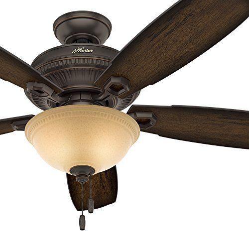 Hunter Fan 52 Inch Traditional Ceiling Fan With Led Bowl Light Kit In Onyx Bengal Renewed Traditional Ceiling Fans Ceiling Fan Bowl Light Hunter ceiling fan light fixture