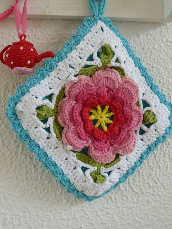 Crochet Hot Pads Crochet And Flower Granny Square On