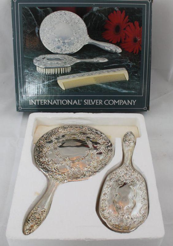 Beautiful International Silver Company Silverplated 3 Pieces Dresser Set Mirror Brush Comb. Beautiful International Silver Company Silverplated 3 Pieces