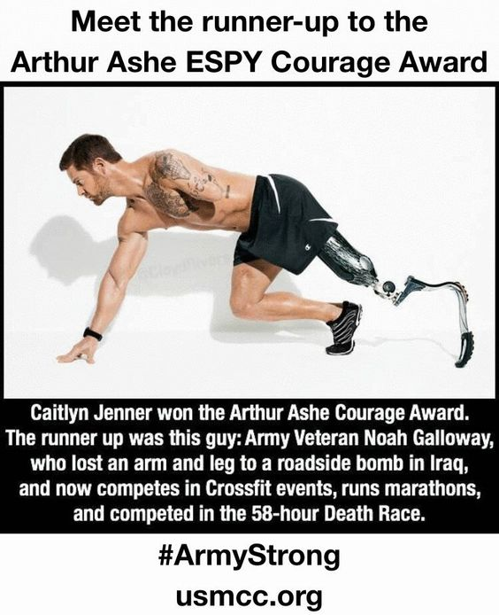 Bruce 'Caitlyn' Jenner has been named as the recipient to the Arthur Ashe Courage Award, Noah Galloway is the runner up.