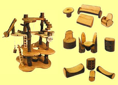 Build a treehouse kit and wooden stick furniture too for How to build a treehouse with sticks