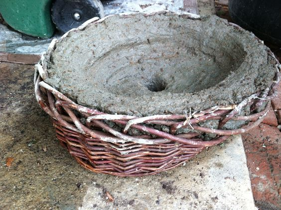 Basket Weaving With Leaves : Baskets cement and leaves on
