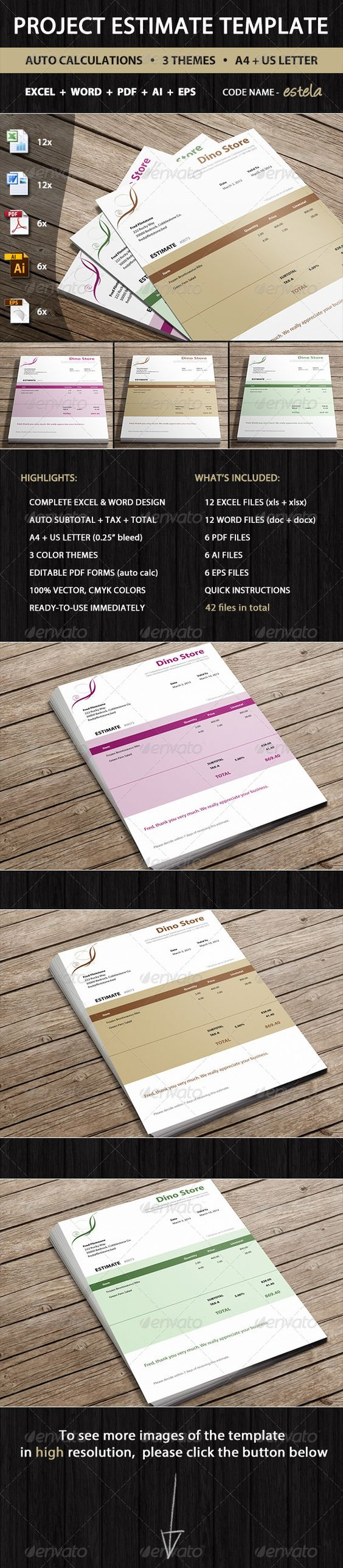 estimate fields fonts and creative people buy estimate by invoicebus on graphicriver estimate estela is professional estimate template by invoicebus in 3 color variants ready to automate and