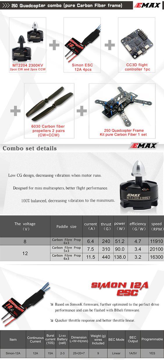 EMAX Nighthawk 250 Fibre de Carbone Quadricoptère Combo CC3D MT2204 Moteur 12A ESC Vente-Banggood.com