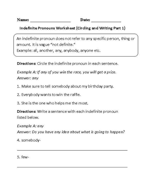 Indefinite Pronouns Worksheet Circling or Writing Part 1 Beginner – Indefinite Pronouns Worksheet