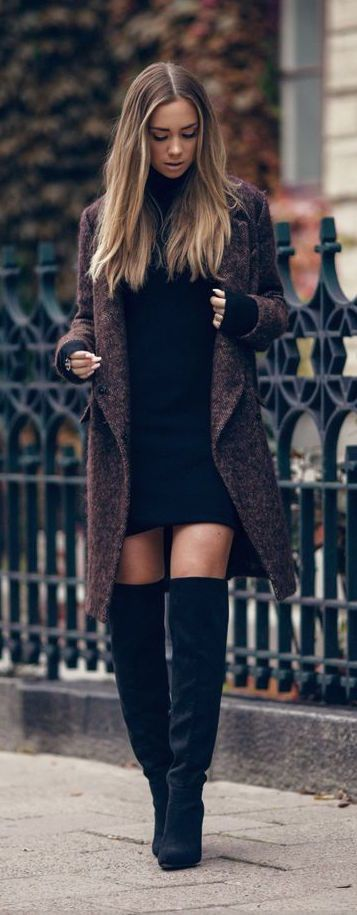 #winter #fashion / black knit dress + knee-length boots: