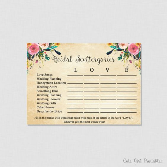Scattergories Game - Floral Scattergories - Game - Cream Bridal Shoer - Printable Bridal Shower Scattergories Game 0001C