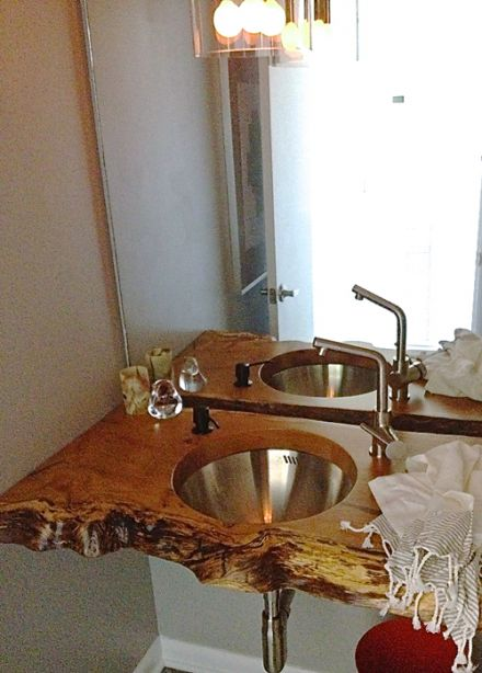 Above view of living edge countertop with sink. LOVE! Modfrugal HB slab sink
