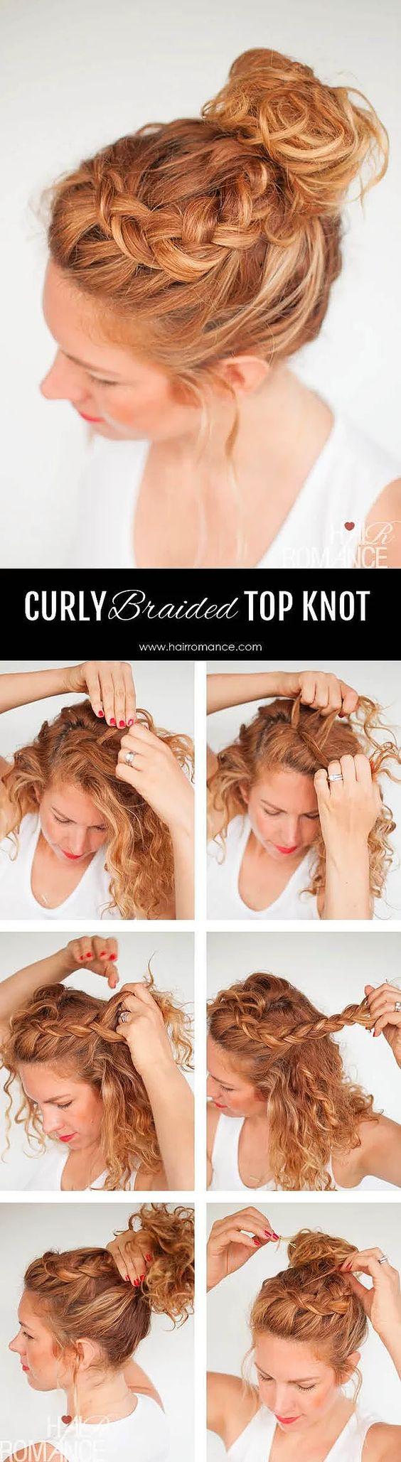 Sıcak yaz günlerinde hem stil hem kullanışlı bir model olan bu topuzu yapmak için,önden ayırdığınız saçınızın bir tarafını arkaya doğru örün; ardından üst tarafta, tüm saçınızla birleştirip toplayın.: