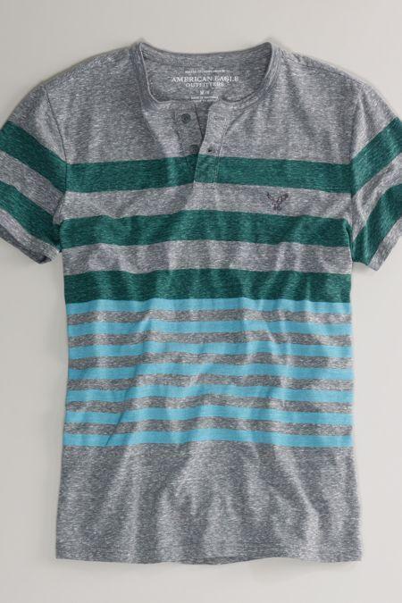 AEO Striped Henley, Men's, Size: 3XL, Indigo Water