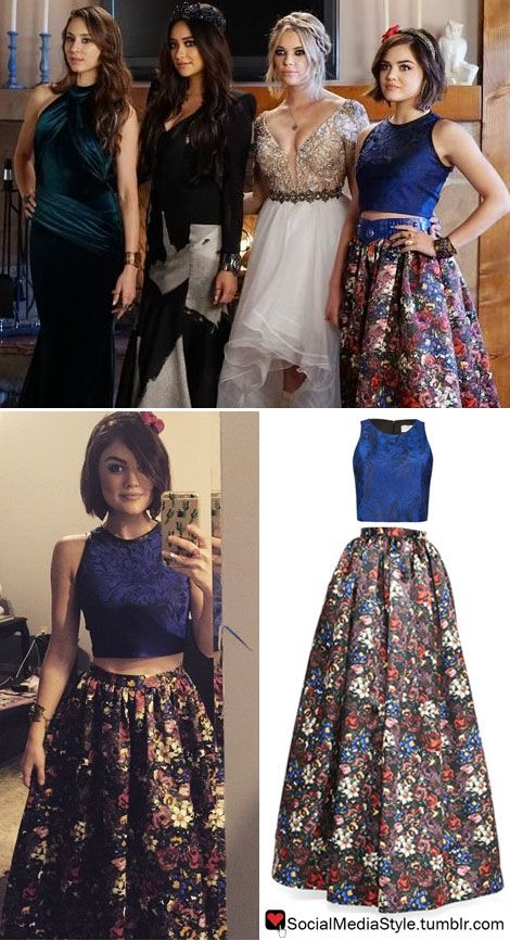 "Buy Lucy Hale's ""Pretty Little Liars"" Prom Navy Crop Top and Floral Print Skirt, here!"