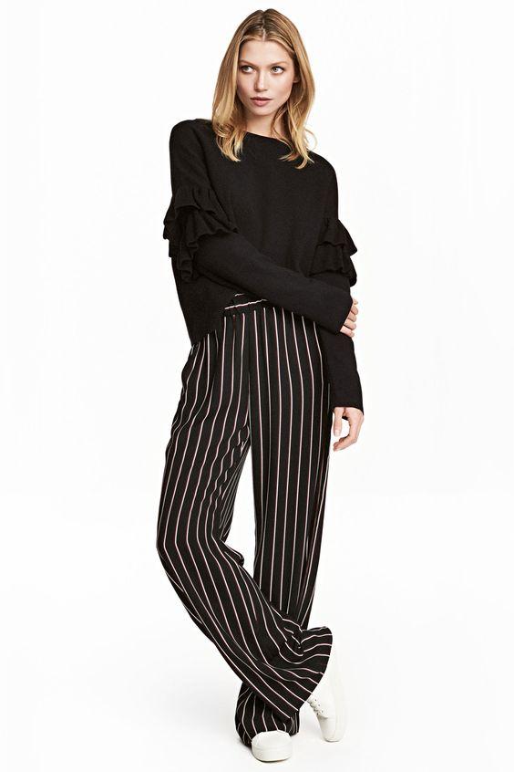 Pantalon large - Noir/rayé - | H&M FR