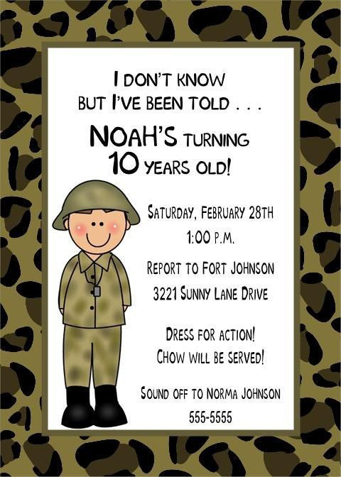 camouflage, military or army birthday invitations for boy or girl, Birthday invitations