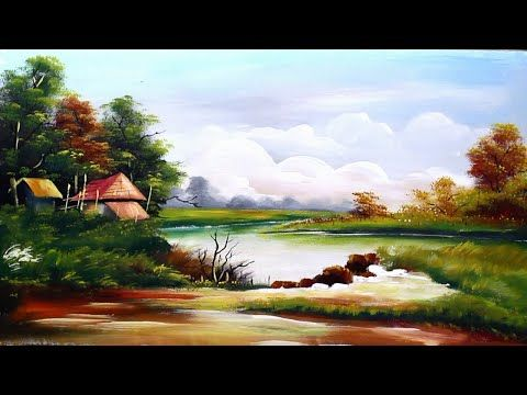 Landscape Scenery Painting Acrylic Color Very Easy For Beginners Youtube Scenery Paintings Landscape Scenery Scenery