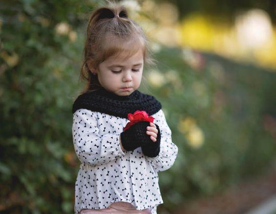 Crocheted Set Girls Shrug Fingerless Gloves by petalsnpixiedust