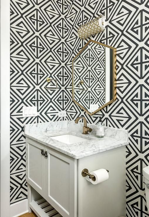 Black And White Powder Room With Gold Accents Display A Gold