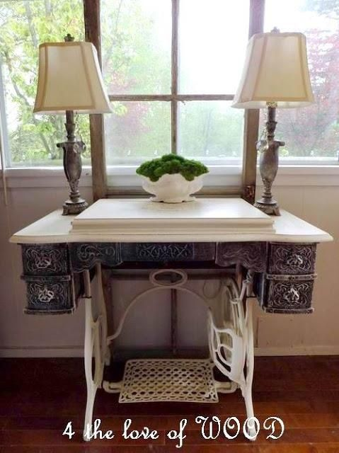 Repurposed Sewing Machine into side table-love how they painted the wood top and bottom metal to match!: