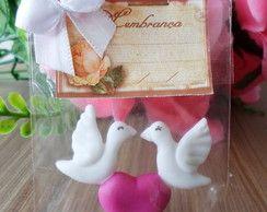 lembrança de casamento pombinhos biscuit