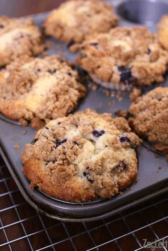 Bakery Style Blueberry Muffins with Crumb Topping