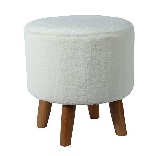 Eshow Padded Footstools Ottoman Foot Rest With Wooden Legs Linen